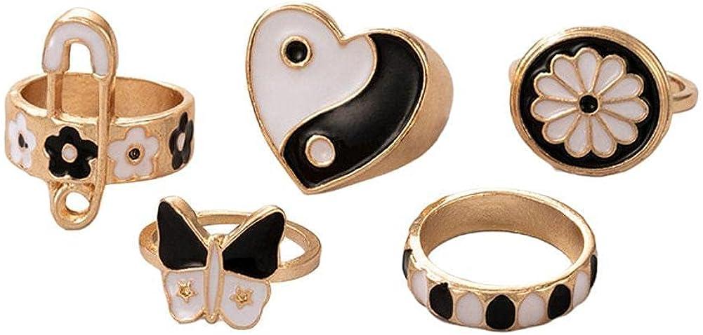 Colorful Rings Set for Women Teen Girls Chunky Enamel Rings Trendy Heart Yin Yang Flower Finger Band Ring Vintage Minimalist Statement Stackable Rings