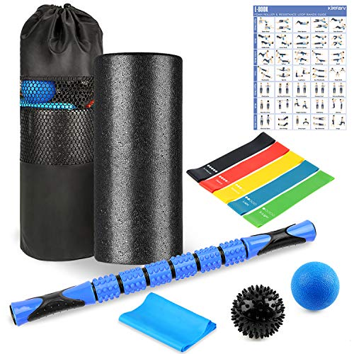 High Density Foam Roller Set - 10 in 1 Foam Roller with Muscle Roller Stick 2 Massage Balls 1 Stretching Band & 5 Resistance Loop Bands for Physical Therapy Injury Prevention Deep Tissue Massage