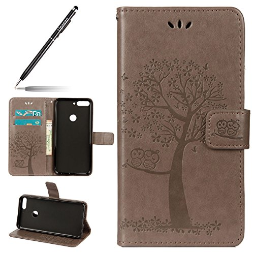 Uposao Kompatibel mit Huawei Honor 7C Handytasche Wallet Hülle Niedlich Eule Blumen Baum Muster Flip Hülle Schutzhülle Ledertasche Lederhülle im Bookstyle Klapphülle,Grau