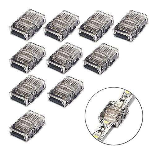 IGOSAIT 10pcs 2Pin 3Pin 4Pin 5Pin 8/10 / 12mm LED Conector de luz para LED RGB RGBW 2812 3528 5050 Conector de conexión de alambre de tira LED (Color : LED Strip to Wire, Pins : For 8mm 2pin IP20)
