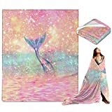 Pink Mermaid Warm Throw Blanket Ultra-Soft Micro Fleece Blanket for Bed Couch Living Room