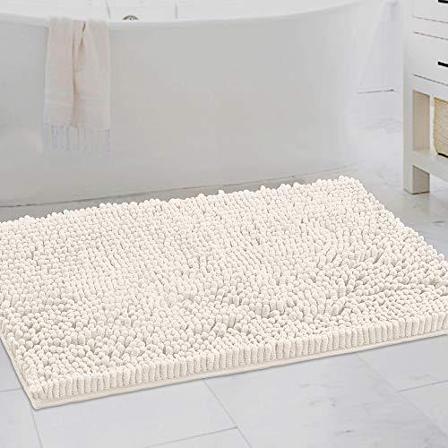 Alfombras de baño antideslizantes de chenilla de lujo, 51 cm x 81 cm, extra suaves y absorbentes, lavables y de secado rápido, felpa, para cuarto de baño, bañera, color marfil