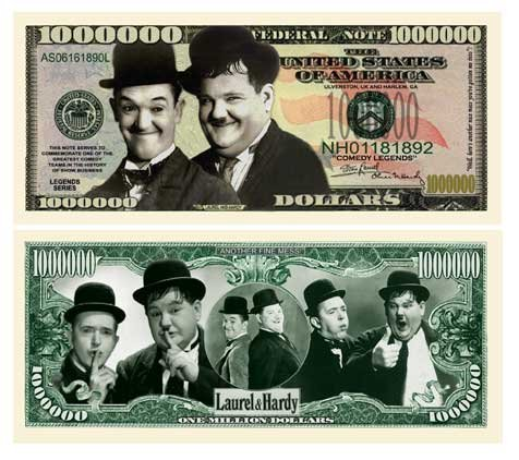 American Art Classics Laurel and Hardy Million Dollar Bill - (Pack of 10) - Best Gift for Lovers of This Comedy Duo