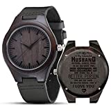 Engraved Wooden Watches, Personalized Engraved Wood Watch Japanese Movement Battery Anniversary Birthday Graduation Watches for Mens Husband Love Dad Mom Son Friend (for Husband)
