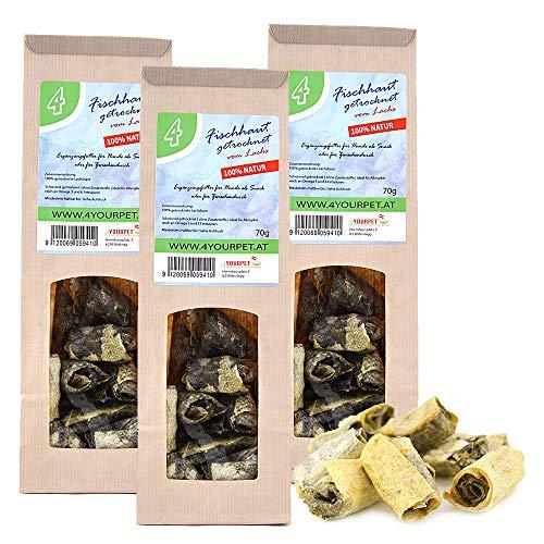 4yourpet 3 Packungen getrocknete Fischhaut, Lachshaut Fisch Rollen für Hunde, fettarmes Hunde Leckerlies, Leckerer Hundesnack, Welpenleckerlies