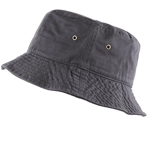 The Hat Depot 300N Unisex 100% Cotton Packable Summer Travel Bucket Hat (S/M, Charcoal)