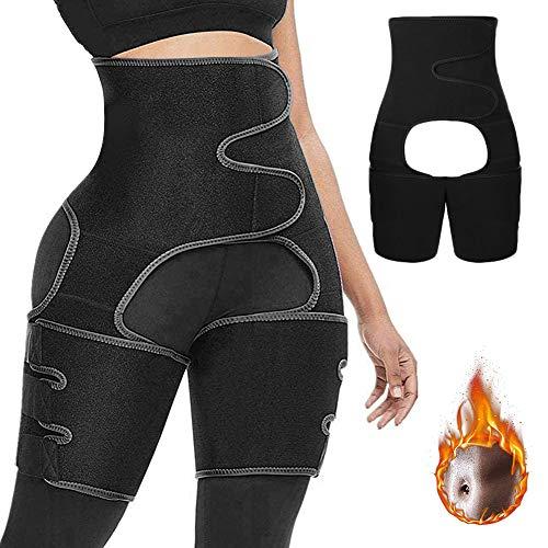 NANOOER 3 in 1 Waist Trainer Support Belt Hip Raise Waist and Thigh Butt LifterTrimmer for Women… Black