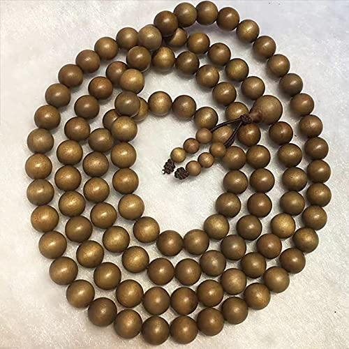 JONJUMP 8 mm de sándalo natural Lao Shan Tan con Perlas de Fragancia Yoga Mala 108 Cuentas de Mediación