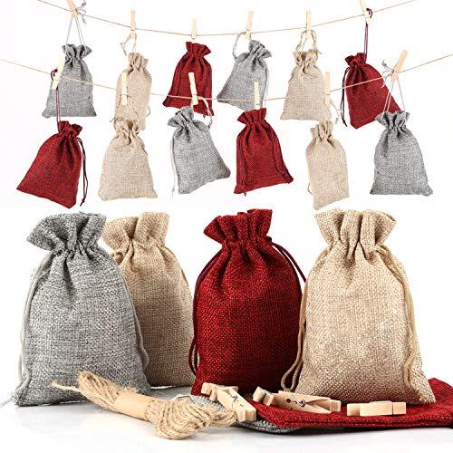 Funxim 24 Calendario dell'Avvento Borsa in Stoffa per Il riempimento, Sacchetti Regalo di Natale, 1-24 Numeri Adesivi (2 Pack),Sacchetti Juta,24 Clip in Legno,24 Sacchetti di Iuta