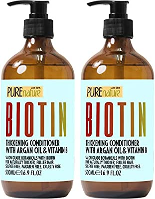 Biotin Shampoo and Conditioner ?Set - ?Sulfate Free Deep Treatment ?with? Morrocan Argan Oil - ?Helps with? Hair Growth ?and Fight? Hair Loss