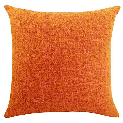 DimaiGlobal Funda de Cojín Algodón de Lino de Color sólido Square Decorativos Felpa Throw Funda de Almohada para Hogar Dormitorio Sofá Coche Cama Fundas de Cojines Naranja 40X60CM