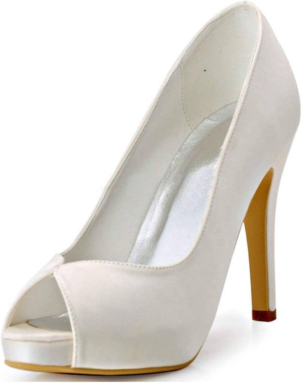 Qiusa Damen Plattform Stiletto Heels Weiß Satin Braut Braut Braut Hochzeit Outdoor Sandalen UK 4.5 (Farbe   -, Größe   -)  07c9cc