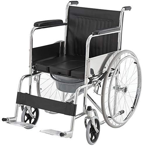 HOMCOM Folding Commode Mobile Toilet Aluminium Alloy Wheelchair with Detachable Bucket for Bedside/Bathroom