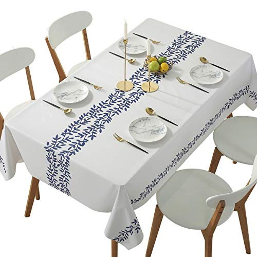 Qualsen Round Table Cloths Wipeable Waterproof Tablecloth White Background PVC Plastic Vinyl Tablecloths Wipe Clean Table Cover Outdoor Dining Garden, Blue Leaf Print 54 x 54 Inch(137 x 137 cm)