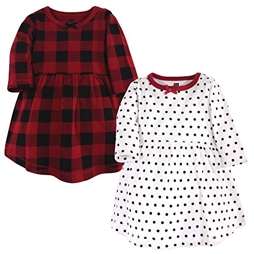Hudson Baby Baby and Toddler Girl Cotton Dresses, Classic Holiday, 12-18 Months