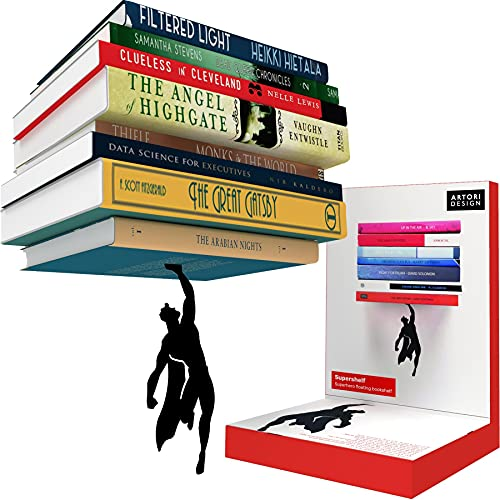 Invisible Hanging Metal Floating Bookshelf - Optical Illusion Wall Book Shelf for Kids and Men -...