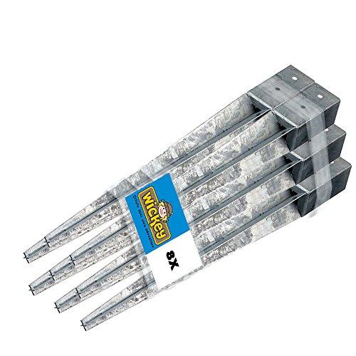 WICKEY Bodenhülse Einschlaghülse Pfostenhülse Einschlagbodenhülse für Pfosten 9x9cm, 8er Set