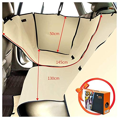 Jdk Pet Car Seat Cover Waterproof Anti-grab Dog Pad Detachable Back Row Seat Cover Oxford Cloth With Storage Bag, 3 Colour Easy To Install,(Fit Most Car, Truck, Suv, Or Van) (Color : Beige)