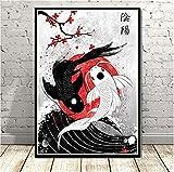 QINGRENJIE Plakate und Druck Japan Koi Fisch Poster