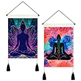 Uspring Pack of 2 Seven Chakra Tapestry Yoga Meditation Tapestry Psychedelic Lotus Tapestry Hippie Tapestry for Room (13.8 x 19.7 inches)