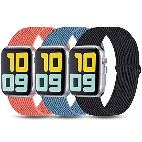 3 Pack Kompatibel mit Apple Watch Armband 38mm 42mm 40mm 44mm, Ersatzband Nylon Einstellbares Weiches Leichtes Atmungsaktives für die iWatch Serie SE 6 5 4 3 2 1 (03 Blue/Orange/Black sand, 42mm/44mm)
