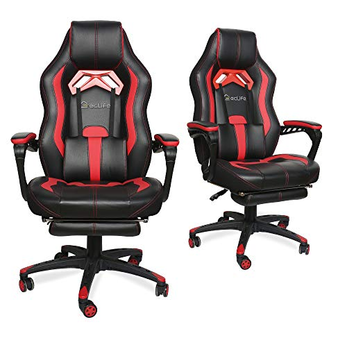 LUCKWIND Video Gaming Chair Racing Recliner - Ergonomic Adjustable Padded Armrest Swivel High Back Adult Footrest Headrest Lumbar Support Leather Breathable Bucket Seat Home Office Desk (Black & Red) chair footrest gaming