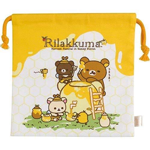 San-X Rilakkuma Relax Bear Drawstring Bag 'Harvest Festival of the honey forest' CU30201