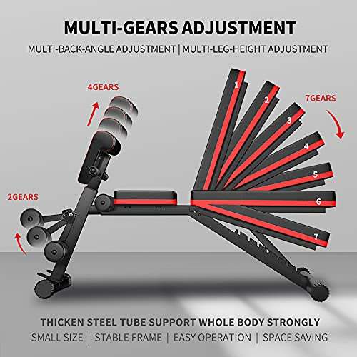 Adjustable Weight Benches for Home Gym Workout Equipment, Multi-function Foldable Sit Up Bench Supine Slim Body Equipment Machine, Exercise Bench Incline Extension for Strength Training Equipment