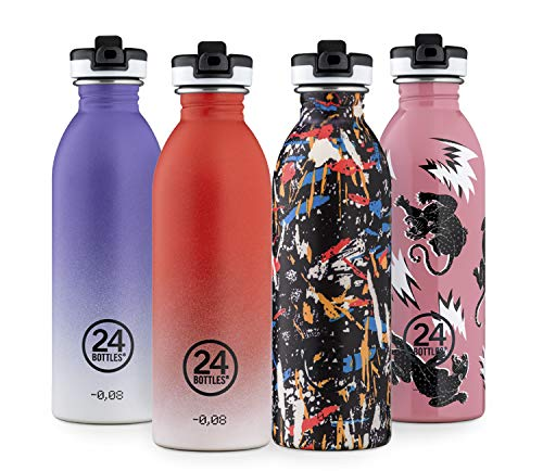 24Bottles Borraccia Con Cannuccia e Beccuccio Per L'Acqua | Bottiglia Riutilizzabile in Acciaio Inox senza BPA | Sport Bottle | Design Originale Italiano - Wild Tune 500 ml