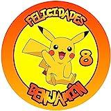 OBLEA de Pikachu Personalizada con Nombre y Edad para Pastel o Tarta, Especial para cumpleaños, Medida Redonda de 20cm de diámetro