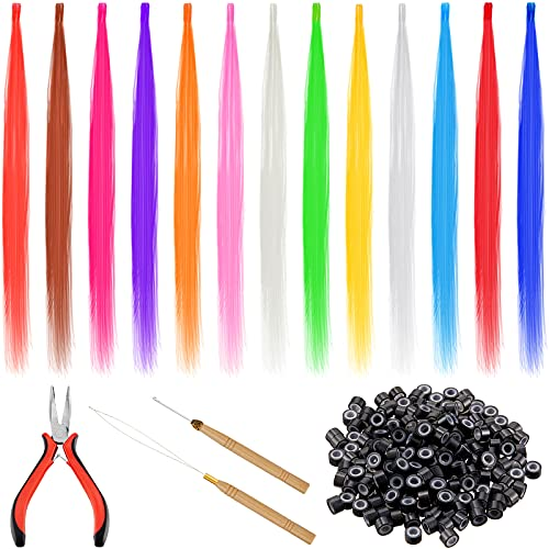 104 Pieces Colored Synthetic Feather Hair Colorful Fiber Hair Extensions Mixed Color Long Straight Hairpieces with 200 Silicone Line Micro Rings 2 Crochet Hooks Hair Extension Remover Pliers for Women
