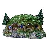 Rehomy Castillo creativo de resina castillo de madera árbol de la casa rocosa pecera acuario adorno decoración de cueva