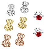 glacely 3 Pairs crown-shaped Earring Lifters, Earring Back for Adjustable Secure Earring Lifts Safety Earring Backs for Droopy Ears , 1 pair free Crystal earrings