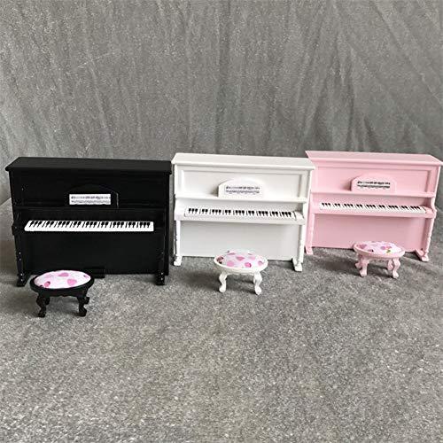 Lai-LYQ Puppenhaus Zubehör, 1/12 Mini Simulierte Klavier Hocker Set Modell Für Kinder Spielzeug Geburtstagsgeschenke Puppenhaus Wohnzimmer Zubehör Weiß