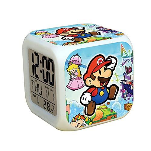 Super Mary Wecker Super Mario Bros Schlafzimmer Dekor LED Digital Wecker Farbwechsel Licht Kinder
