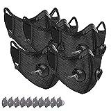 5xMasks-Mascarillas 10xFiltros unisexo higiénica multifuncional reutilizables y lavables - Protección contra polvo Microfibra Protección facial de ciclismo Carbón Activado Anticontaminación