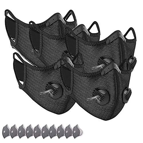 Protección facial Antipolvo para mujeres adultas Hombre - Nylon elástico suave - Lavable reutilizable - Ciclismo al aire libre, ciclismo - 5 Piezas + 10 Filtro