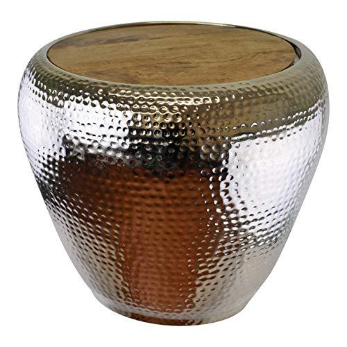 EliteKoopers 1 mesa auxiliar de metal con parte superior de madera para el hogar, el jardín o el adorno de regalo