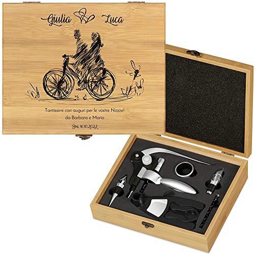 MURRANO Kit accessori da vino Deluxe - Set Cavatappi da Vino Personalizzato - Scatola in legno di bambù + 8 pezzi di Accessori Vino - idee regalo per anniversario - Bici