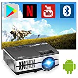 Wireless Mini Projector Portable 3000lumen Support 1080P Bluetooth HDMI Projetors Home Cinema with Android 7.1 Built-in Speakers Digital Zoom LCD LED Smart Proyector for PS5 iPhone Netflix DVD