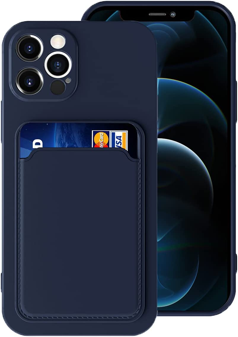 Silicone Card Case Compatible with iPhone 12 Pro Max 6.7inch, Shock-Absorbing Protective Case with Card Holder, Soft Slim Wallet Case Compatible with iPhone 12 Pro Max(2020 Release)-Dark Blue