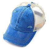C.C Hatsandscarf Exclusives Washed Distressed Cotton Denim Ponytail Hat Adjustable Baseball Cap (BT-12) (DK Blue)