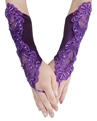 JISEN Women Banquet Party Fingerless Elegant Lace Embroidered Bridal Gloves 11 Inch Purple