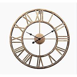 Liinmall Large 3D Retro 24 Wall Clocks Operated Roman Numerals Home Decor Metal Clock