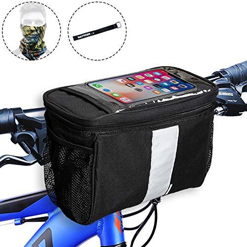 MATTISAM Bike Handlebar Bag, Bike Basket with | Mesh Pocket - Cold & Warm Insulation - Reflective Strap - Touchable Transparent Phone Pouch | Bicycle...