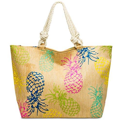 Caspar TS1061 große Damen Familien XXL Stroh Sommer Strandtasche Shopper mit buntem Ananas Print, Größe:One Size, Farbe:natur