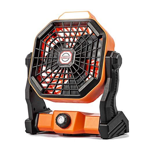 Camping Ventilator Lureshine Tischventilator|mit Led Licht|7800 mA Batterie|Einstellbare Geschwindigkeiten 270° Rotation Leise Turbo ventilator Campinglüfter mit Hängehaken für Büro|Wohnmobil|Zelt (A)