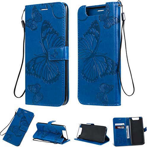 Amocase Wallet Leather Case with 2 in 1 Stylus for Samsung Galaxy A80,Premium Strap 3D Butterfly Magnetic PU Leather Stand Shockproof Card Slot Case for Samsung Galaxy A80 - Blue