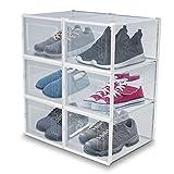 achilles Cajas de zapatos Juego de 6 estantes para zapatos Organizador de zapatos plegable y apilable Armario de zapatos con puerta transparente Cajas apilables hasta la talla 43