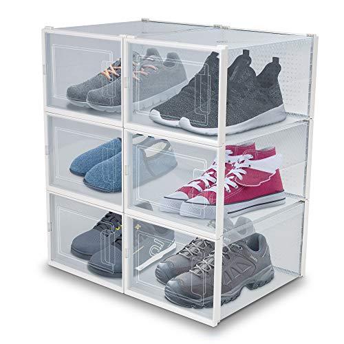 achilles Cajas de zapatos Juego de 6 estantes para zapatos Organizador de...